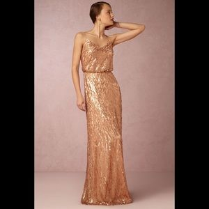BHLDN Courtney Feather Dress Sequin Gown Altered